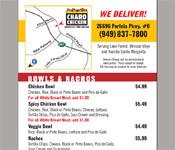 Charo Chicken menu flyer